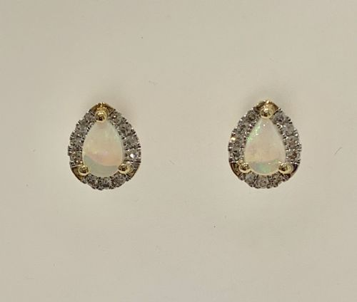 Pear Shaped Opal And Diamond Yellow Gold Stud Cluster Earrings (1)